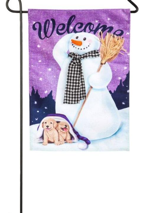 """Friendly Snowman's Welcome 14L4547 Evergreen Linen Garden Flag 12.5"""" x 18"""""""