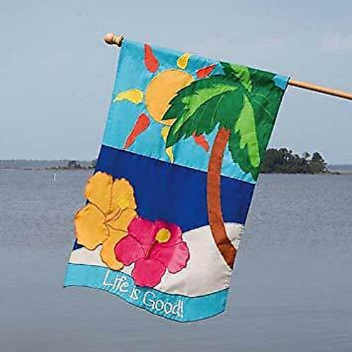 """Life is Good 15634 Evergreen Applique HOUSE Flag 28"""" x 44"""""""