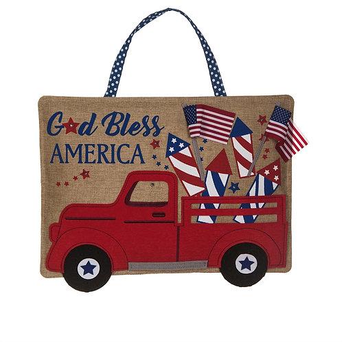 Truckload of Fireworks Lit Door Decor 2DHB1455BL Evergreen Door Hanger
