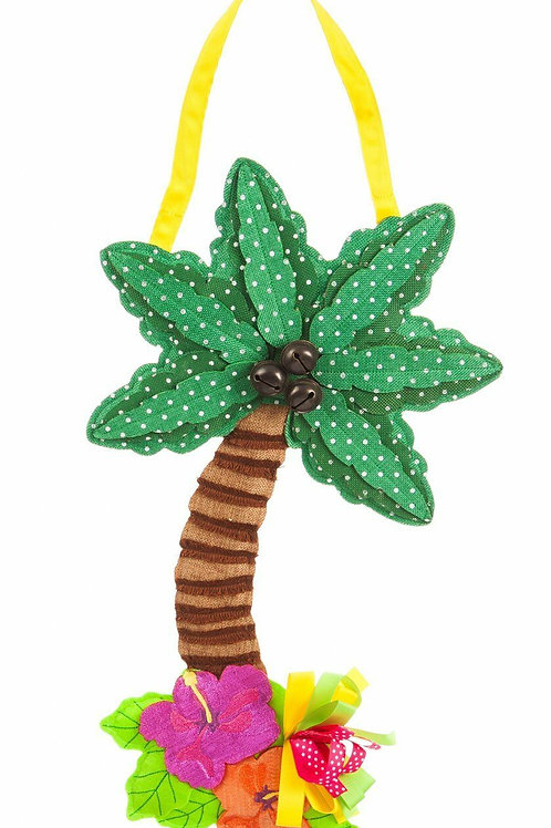 Palm Tree Burlap Door Decor 2DHB1150 Evergreen Door Hanger