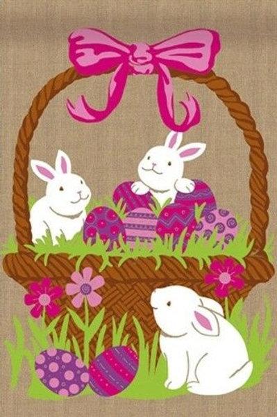 "3 Bunnies in a Easter Egg Basket 14B4026 Burlap Garden Flag 12.5"" x 18"""