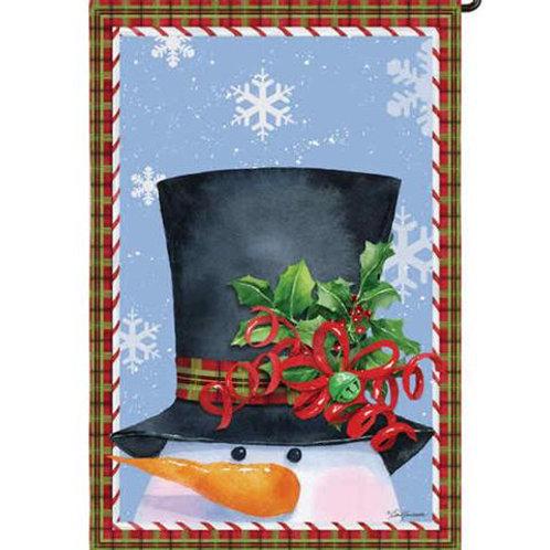 """Top Hat Snowman 14S3120 Evergreen Suede Garden Flag 12.5""""W x 18""""H"""