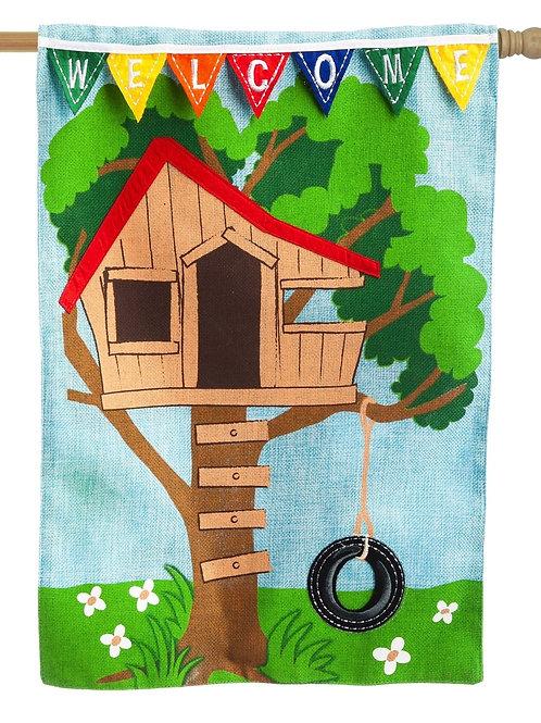 "Tree House 14B3763BL Evergreen Burlap Garden Flag 12.5"" x 18"""