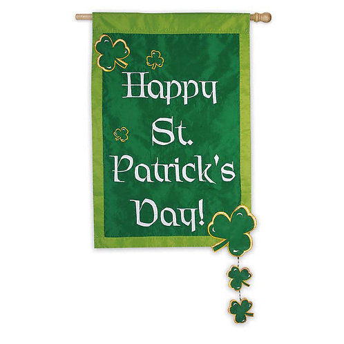 "St. Patrick's Day with Spinning 15090 Evergreen Applique HOUSE Flag 28"" x 44"""