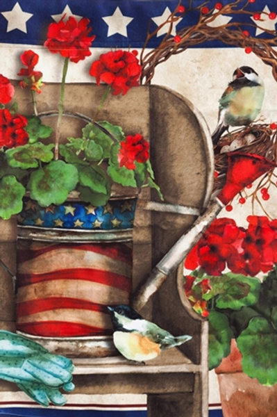 "**OPEN FLAG** Patriotic Garden13A3712 Evergreen Satin HOUSE Flag 28"" x 44"""