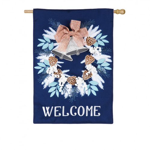 "**OPEN FLAG** Winter Bells 13B8309 Evergreen Burlap HOUSE Flag 28"" x 44"""