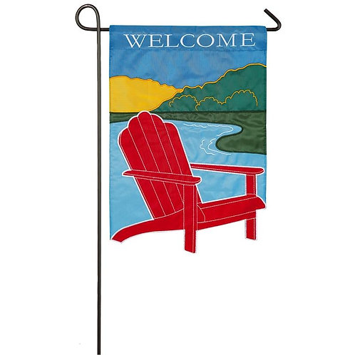 """Adirondack Welcome 168854 Evergreen Applique Garden Flag 12.5"""" x 18"""""""