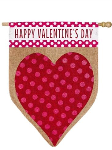 "Valentine's Heart 13B3584 Evergreen Burlap HOUSE Flag 28"" x 44"""