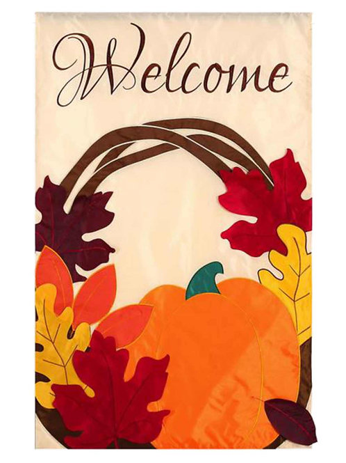"**OPEN FLAG** Welcome Wreath 168458 Evergreen Applique Garden Flag 12.5"" x 18"""