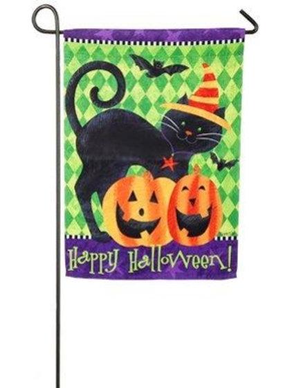 """Halloween Cat 14S3998 Evergreen Suede Garden Flag 12.5"""" x 18"""""""
