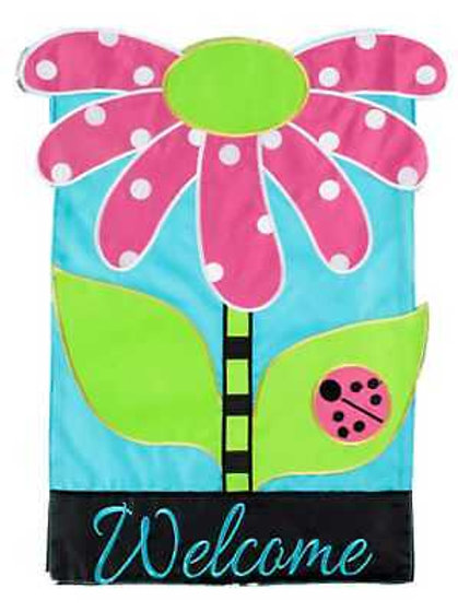 "Welcome Daisy 167980 Evergreen Applique Garden Flag 12.5"" x 18"""