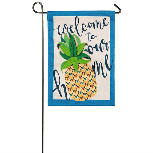 "Welcome to Our Home Pineapple 14B8523 Evergreen Burlap Garden Flag 12.5"" x 18"""