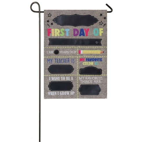 "First Day of School 14B8272 Evergreen Burlap Garden Flag 12.5"" x 18"""
