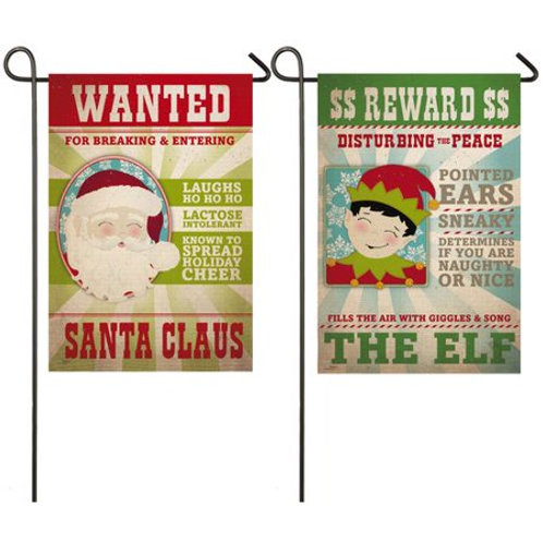 """Santa and Elf Wanted Signs 14S8301FB Evergreen Suede Garden Flag 12.5"""" x 18"""""""