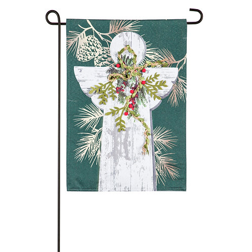 "Woodgrain Angel 14L9230 Evergreen Linen Garden Flag 12.5"" x 18"""