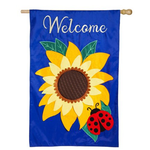 "Sunflower 128611BL Evergreen Applique ESTATE Flag 36"" x 54"""