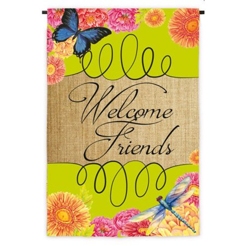 "Welcome Friends 13S3591 Evergreen Suede HOUSE Flag 28"" x 44"""