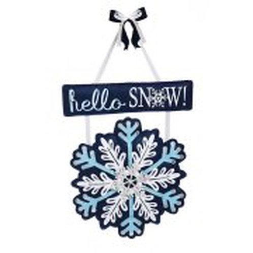 Hello Snow Felt Door Decor 2DHF1091BL Evergreen Door Hanger