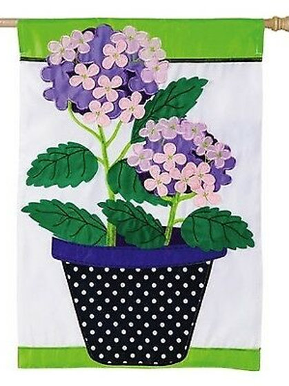 "**OPEN FLAG** Hydrangea Beauty 158499 Evergreen Applique HOUSE Flag 28"" x 44"""