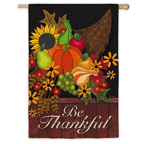 """Be Thankful 13S3949 Evergreen Suede HOUSE Flag 28"""" x 44"""""""