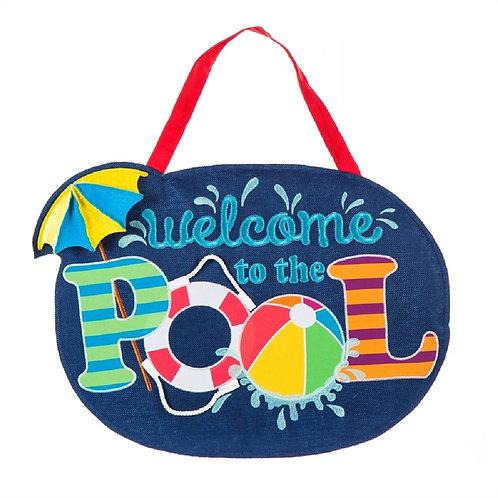 Welcome to the Pool Burlap Door Décor 2DHB1305 Evergreen Door Hanger