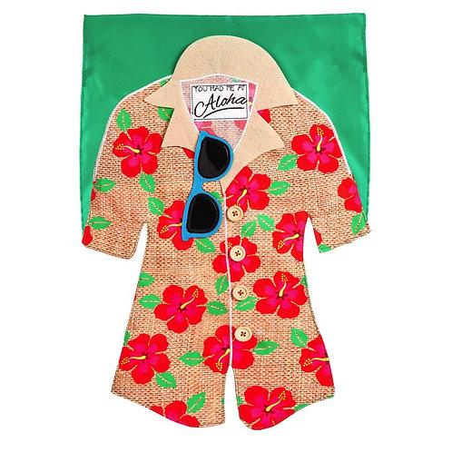 """Hawaian Shirt 14L4421BL Evergreen Linen Garden Flag 12.5"""" x 18"""""""