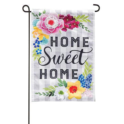 "Home Sweet Home Plaid Floral 14L9471 Evergreen Linen Garden Flag 12.5"" x 18"""