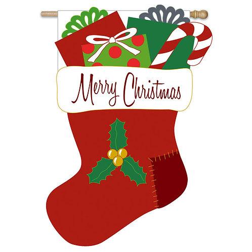 "Merry Christmas Stocking 151170 Evergreen Applique HOUSE Flag 28"" x 44"""