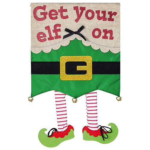 """Get Your Elf On 158847 Evergreen Applique HOUSE Flag 28"""" x 44"""""""