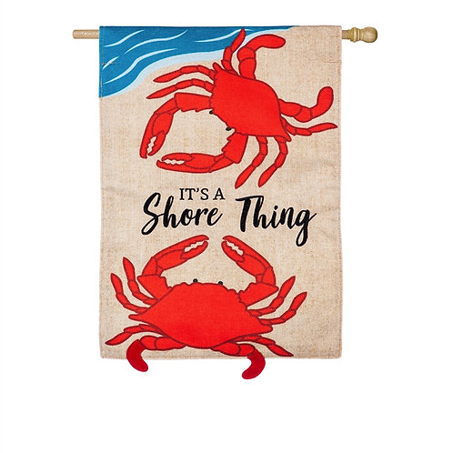 "Shore Thing Crabs 13B8570 Evergreen Burlap HOUSE Flag 28"" x 44"""