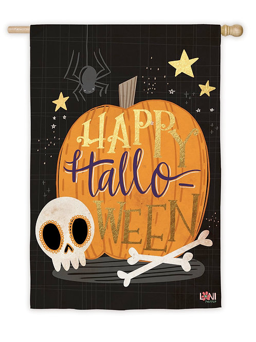 """Halloween Skull 13S8222BL Evergreen Suede HOUSE Flag 28"""" x 44"""""""