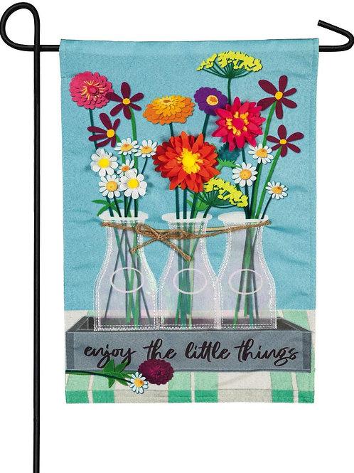 """Floral Milk Bottle Trio Z14S8896 Evergreen Suede Garden Flag 12.5"""" x 18"""""""