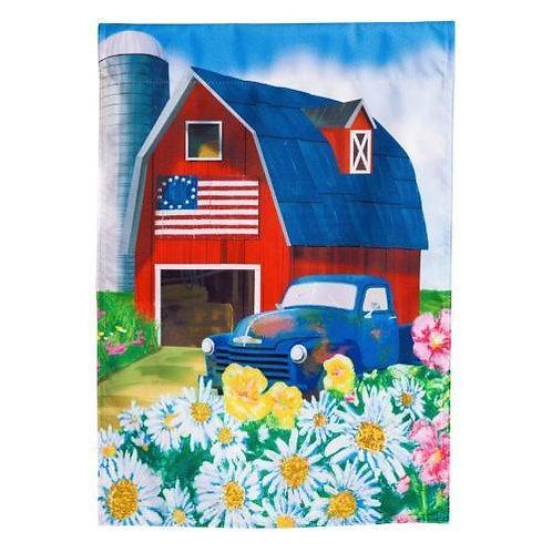 "Patriotic Barn 13L4196 Evergreen Linen HOUSE Flag 28"" x 44"""