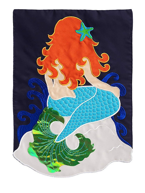 "Mermaid 168431BL Evergreen Applique Garden Flag 12.5"" x 18"""