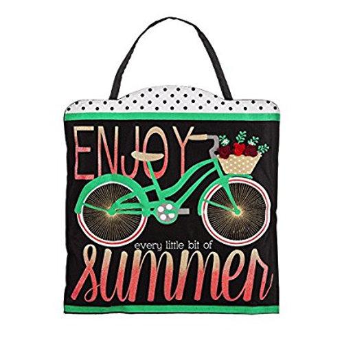 Summer Bicycle Burlap Door Decor 2DHB1173 Evergreen Door Hanger