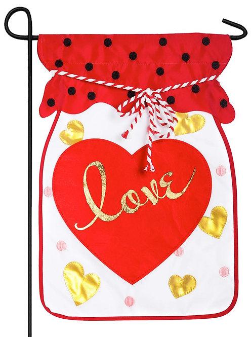 "Jar of Love 168617BL Evergreen Applique Garden Flag 12.5"" x 18"""