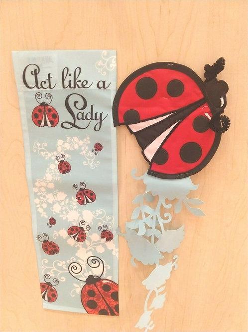 "Act Like a Lady Ladybug 16820 Evergreen Applique Garden Flag 12.5"" x 18"""