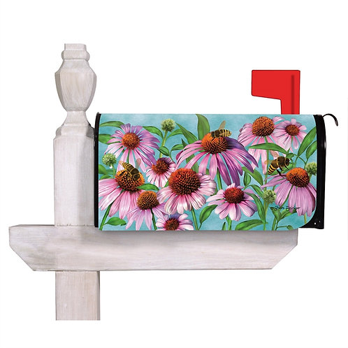 Bees and Coneflowers Evergreen Mailbox Cover 56699