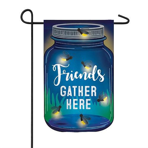 "Firefly Friends Gather Here Solar LED LIGHT UP 14SL8387 Garden Flag 12.5"" x 18"""