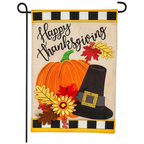 "Happy Thanksgiving 14B9404 Evergreen Burlap Garden Flag 12.5"" x 18"""