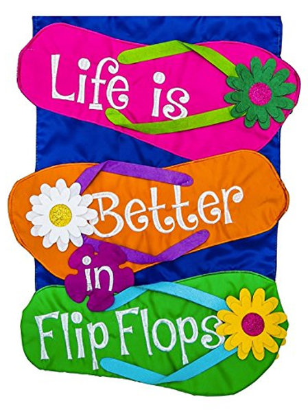 "**OPEN FLAG** Life is Better in Flip Flops 158541BL Applique HOUSE Flag 28""x 44"""