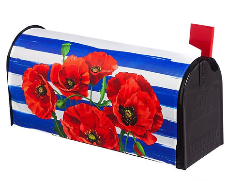 Poppies and Stripes Evergreen Mailbox Cover 56608