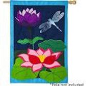 """**OPEN FLAG NO PACKAGING** Dragonfly Pond 13B4178BL Burlap HOUSE Flag 28"""" x 44"""""""