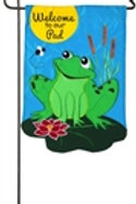 """Welcome to our Pad 168644BL Evergreen Applique Garden Flag 12.5"""" x 18"""""""