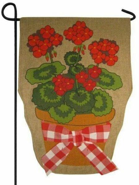 "Summer Geranium 14B3258 Evergreen Burlap Garden Flag 12.5"" x 18"""
