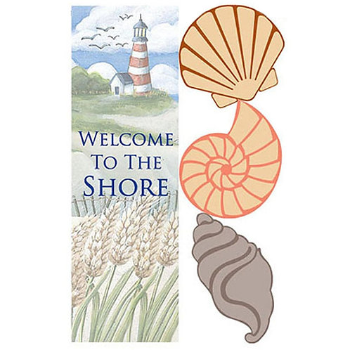 "Welcome to the Shore 16880 Evergreen Applique Garden Flag 12.5"" x 18"""