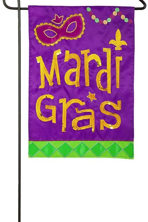 """Mardi Gras Icons 168624BL Evergreen Applique Garden Flag 12.5"""" x 18"""""""