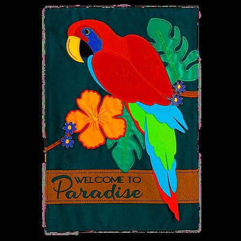 """Parrot Paradise 168675 Evergreen Applique Garden Flag 12.5"""" x 18"""""""