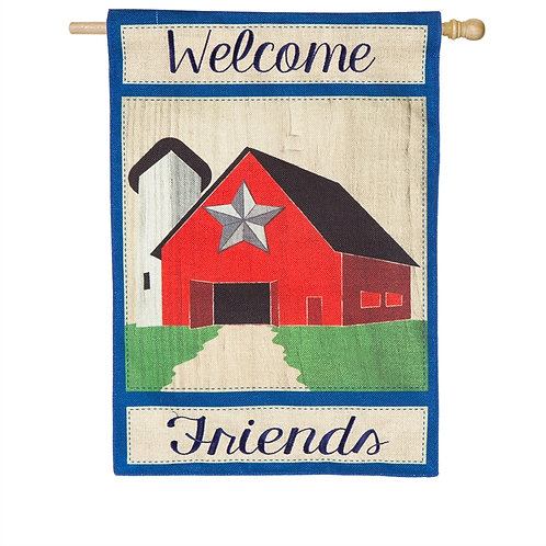 "Country Patriotic Barn 13B4852 Evergreen Burlap HOUSE Flag 28"" x 44"""
