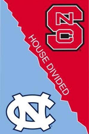 """NCAA Team Sports NCSU/UNC House Divided APPLIQUE Garden Flag 12.5"""" x 18"""""""